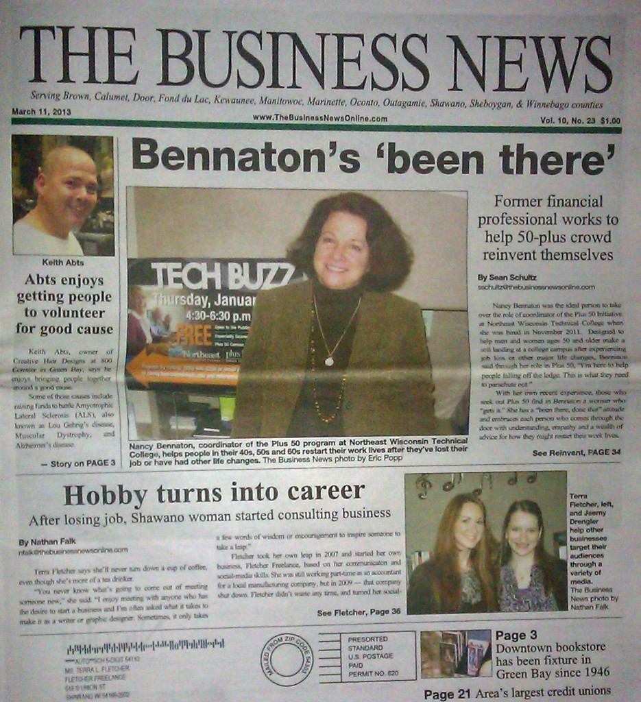 Terra L. Fletcher The Business News newspaper front page