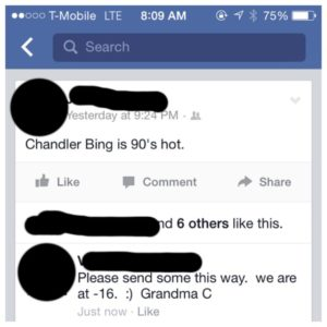 grandma signs name on facebook